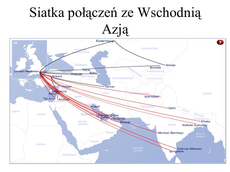Siatka połączeń ze Wschodnią Azją