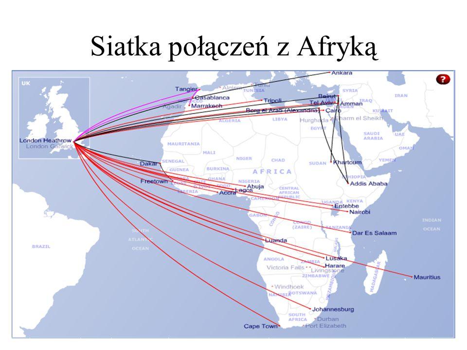 Siatka połączeń z Afryką