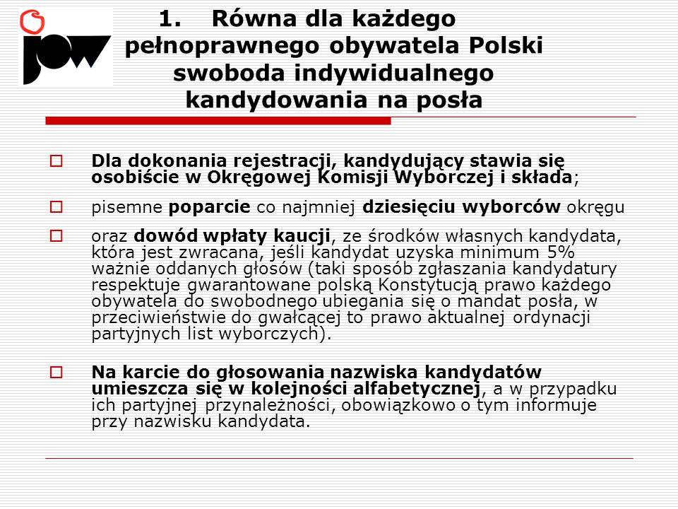 1.Równa dla każdego pełnoprawnego obywatela Polski swoboda indywidualnego kandydowania na posła  Dla dokonania rejestracji, kandydujący stawia się osobiście w Okręgowej Komisji Wyborczej i składa;  pisemne poparcie co najmniej dziesięciu wyborców okręgu  oraz dowód wpłaty kaucji, ze środków własnych kandydata, która jest zwracana, jeśli kandydat uzyska minimum 5% ważnie oddanych głosów (taki sposób zgłaszania kandydatury respektuje gwarantowane polską Konstytucją prawo każdego obywatela do swobodnego ubiegania się o mandat posła, w przeciwieństwie do gwałcącej to prawo aktualnej ordynacji partyjnych list wyborczych).