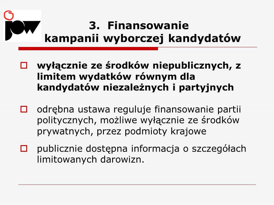 3. Finansowanie kampanii wyborczej kandydatów  wyłącznie ze środków niepublicznych, z limitem wydatków równym dla kandydatów niezależnych i partyjnyc