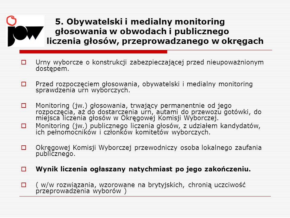 5. Obywatelski i medialny monitoring głosowania w obwodach i publicznego liczenia głosów, przeprowadzanego w okręgach  Urny wyborcze o konstrukcji za