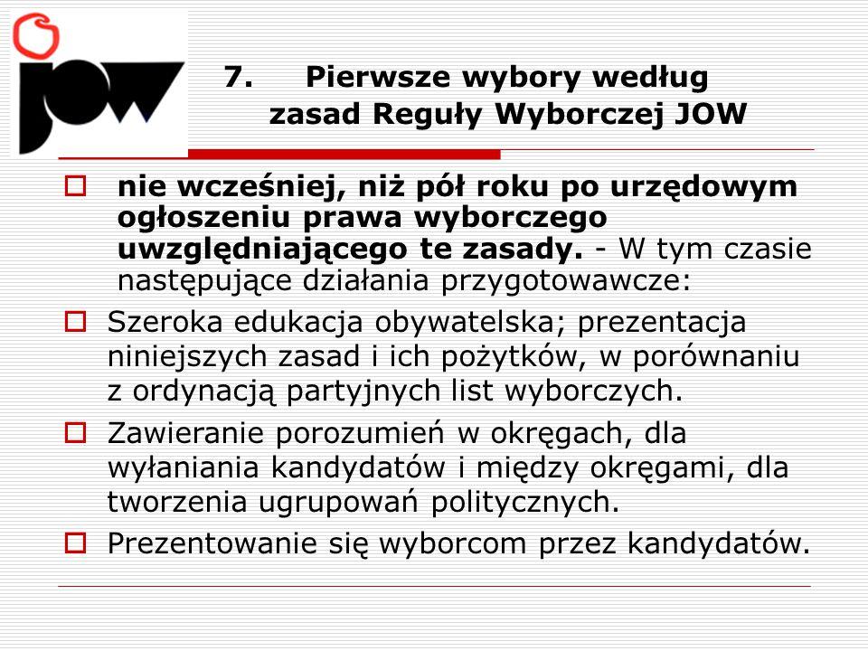 7. Pierwsze wybory według zasad Reguły Wyborczej JOW  nie wcześniej, niż pół roku po urzędowym ogłoszeniu prawa wyborczego uwzględniającego te zasady