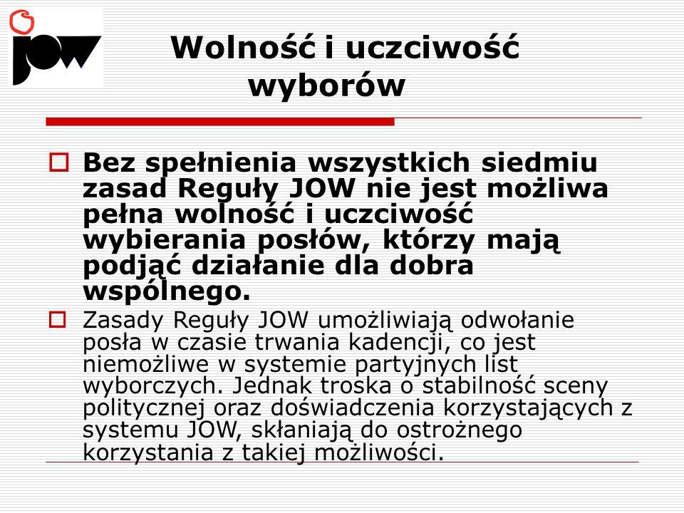 Główne efekty wprowadzenia zasad Reguły Wyborczej JOW w wyborach do Sejmu RP:  Odpowiedzialność posłów przed ich wyborcami ( w okręgach ).