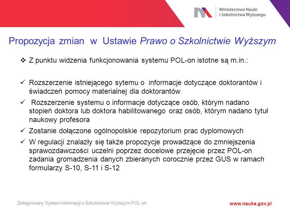 Zintegrowany System Informacji o Szkolnictwie Wyższym POL-on  Z punktu widzenia funkcjonowania systemu POL-on istotne są m.in.: Rozszerzenie istnieją