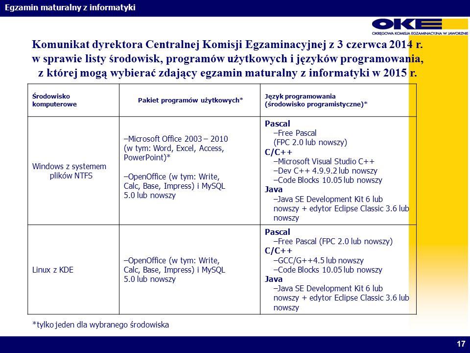 Egzamin maturalny z informatyki 17 Środowisko komputerowe Pakiet programów użytkowych* Język programowania (środowisko programistyczne)* Windows z sys
