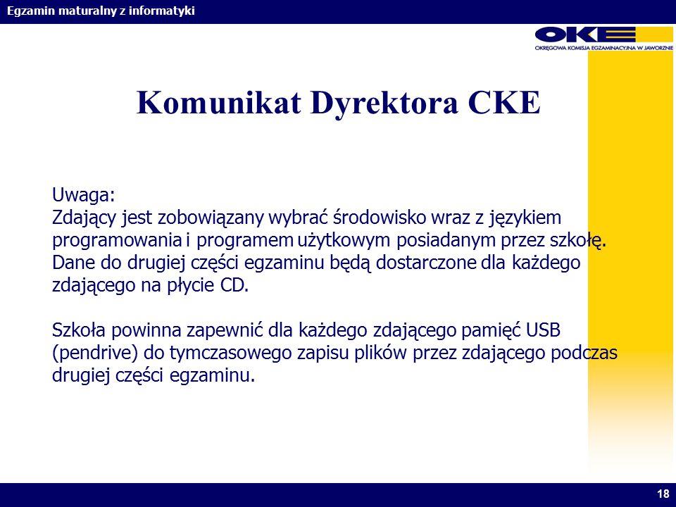 Egzamin maturalny z informatyki 18 Komunikat Dyrektora CKE Uwaga: Zdający jest zobowiązany wybrać środowisko wraz z językiem programowania i programem