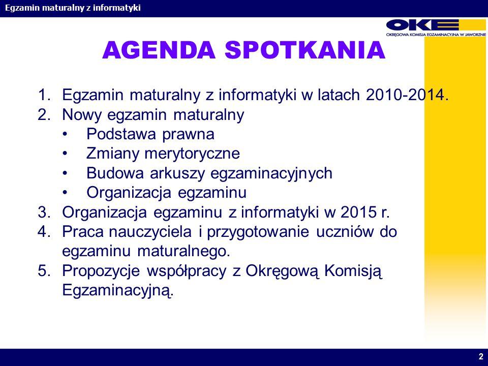Egzamin maturalny z informatyki 2 AGENDA SPOTKANIA 1.Egzamin maturalny z informatyki w latach 2010-2014. 2.Nowy egzamin maturalny Podstawa prawna Zmia