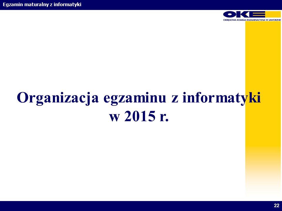 Egzamin maturalny z informatyki Organizacja egzaminu z informatyki w 2015 r. 22