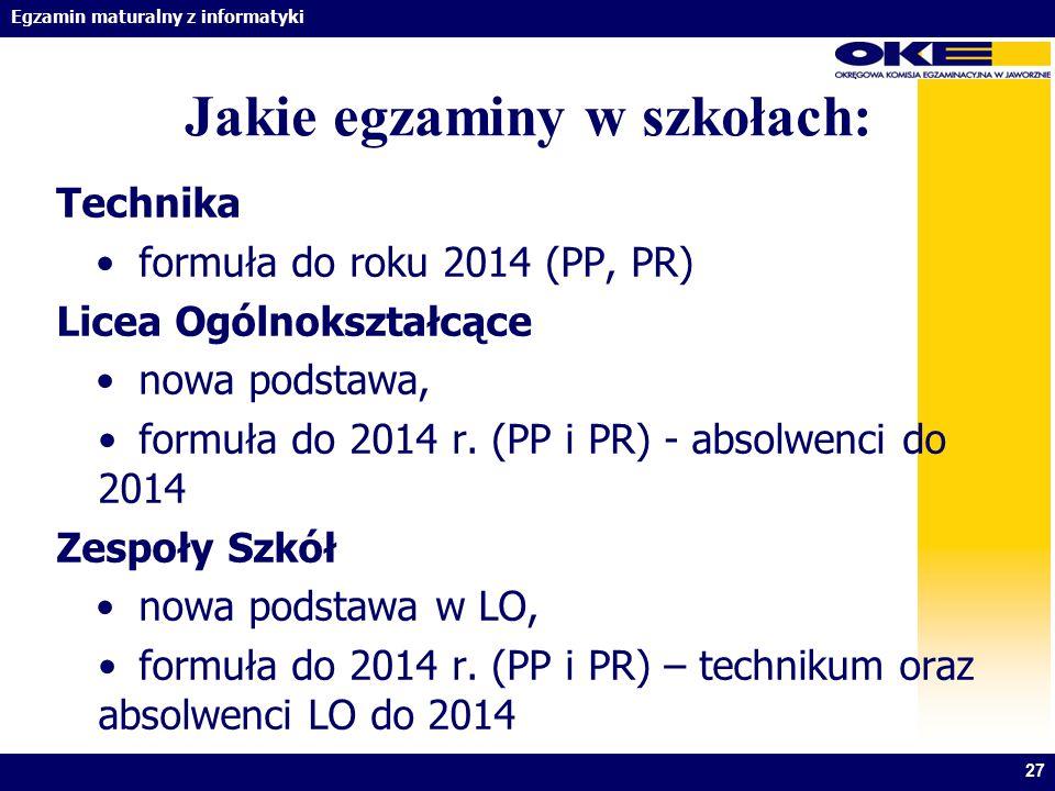 Egzamin maturalny z informatyki Jakie egzaminy w szkołach: Technika formuła do roku 2014 (PP, PR) Licea Ogólnokształcące nowa podstawa, formuła do 201