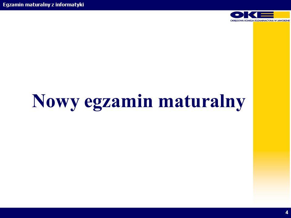 Egzamin maturalny z informatyki Nowy egzamin maturalny 4