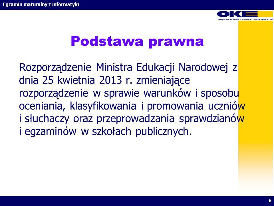 Egzamin maturalny z informatyki Podstawa prawna Rozporządzenie Ministra Edukacji Narodowej z dnia 25 kwietnia 2013 r. zmieniające rozporządzenie w spr