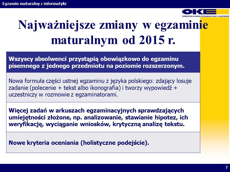 Egzamin maturalny z informatyki Najważniejsze zmiany w egzaminie maturalnym od 2015 r. 7 Wszyscy absolwenci przystąpią obowiązkowo do egzaminu pisemne