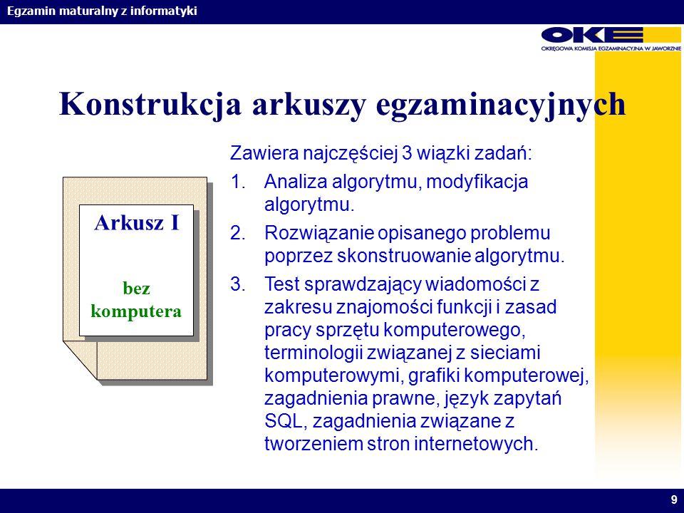 Egzamin maturalny z informatyki Konstrukcja arkuszy egzaminacyjnych 9 Arkusz I bez komputera Arkusz I bez komputera Zawiera najczęściej 3 wiązki zadań