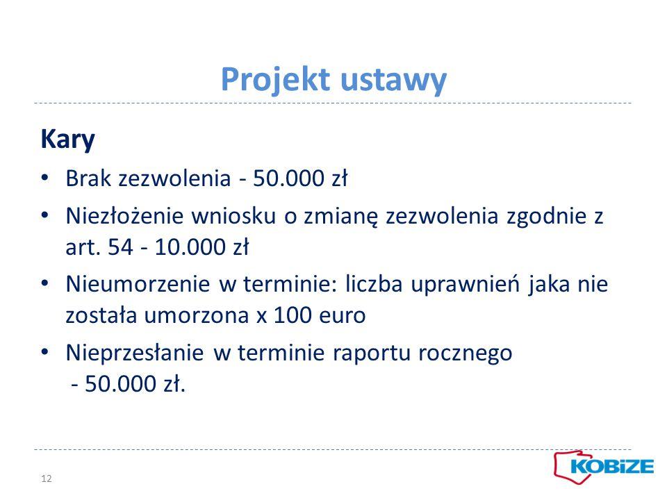 Projekt ustawy Kary Brak zezwolenia - 50.000 zł Niezłożenie wniosku o zmianę zezwolenia zgodnie z art. 54 - 10.000 zł Nieumorzenie w terminie: liczba