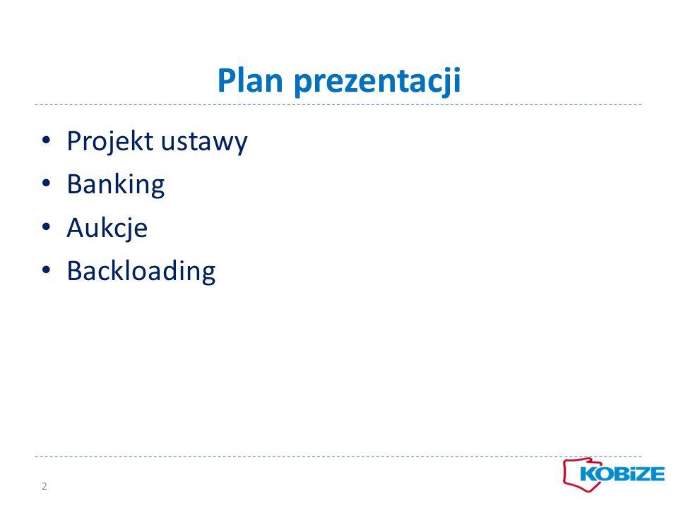 Plan prezentacji 2 Projekt ustawy Banking Aukcje Backloading