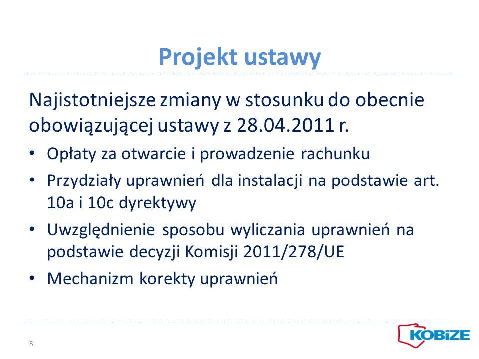 Projekt ustawy Najistotniejsze zmiany w stosunku do obecnie obowiązującej ustawy z 28.04.2011 r. Opłaty za otwarcie i prowadzenie rachunku Przydziały