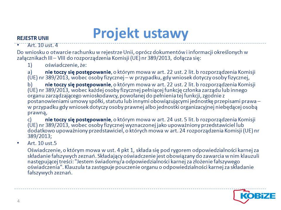 Projekt ustawy REJESTR UNII Art. 10 ust. 4 Do wniosku o otwarcie rachunku w rejestrze Unii, oprócz dokumentów i informacji określonych w załącznikach