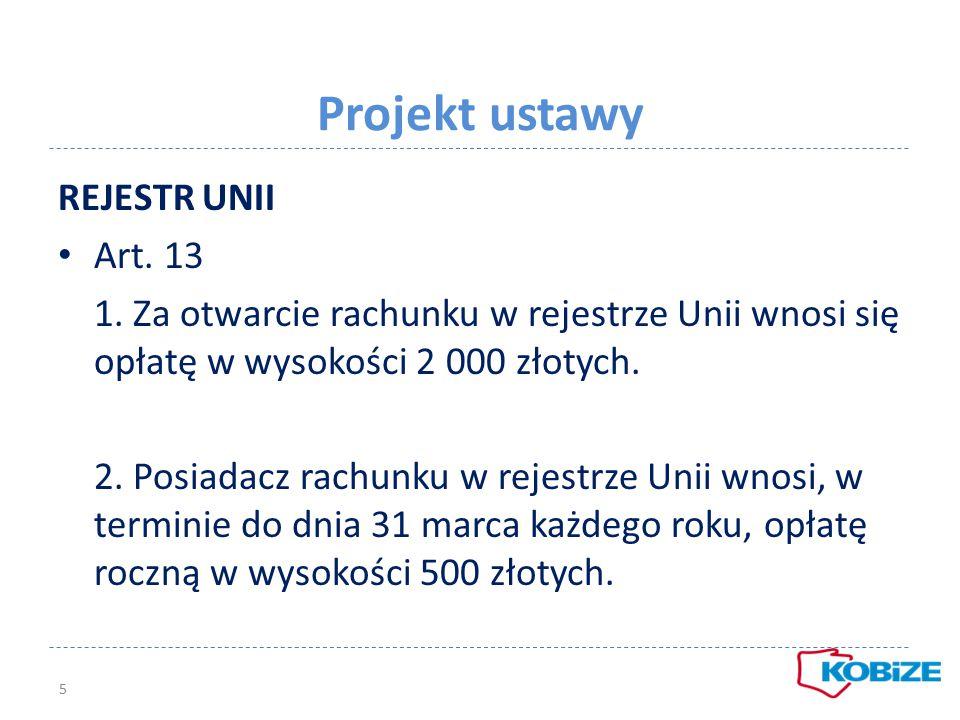 Projekt ustawy REJESTR UNII Art. 13 1. Za otwarcie rachunku w rejestrze Unii wnosi się opłatę w wysokości 2 000 złotych. 2. Posiadacz rachunku w rejes