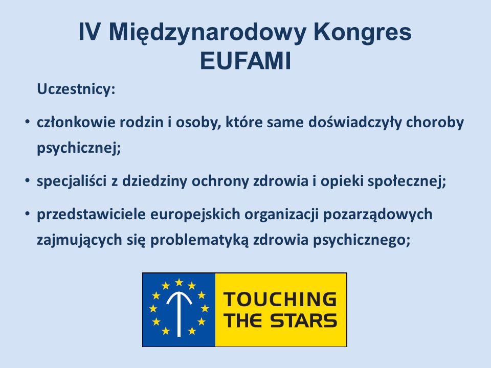IV Międzynarodowy Kongres EUFAMI Uczestnicy: członkowie rodzin i osoby, które same doświadczyły choroby psychicznej; specjaliści z dziedziny ochrony z