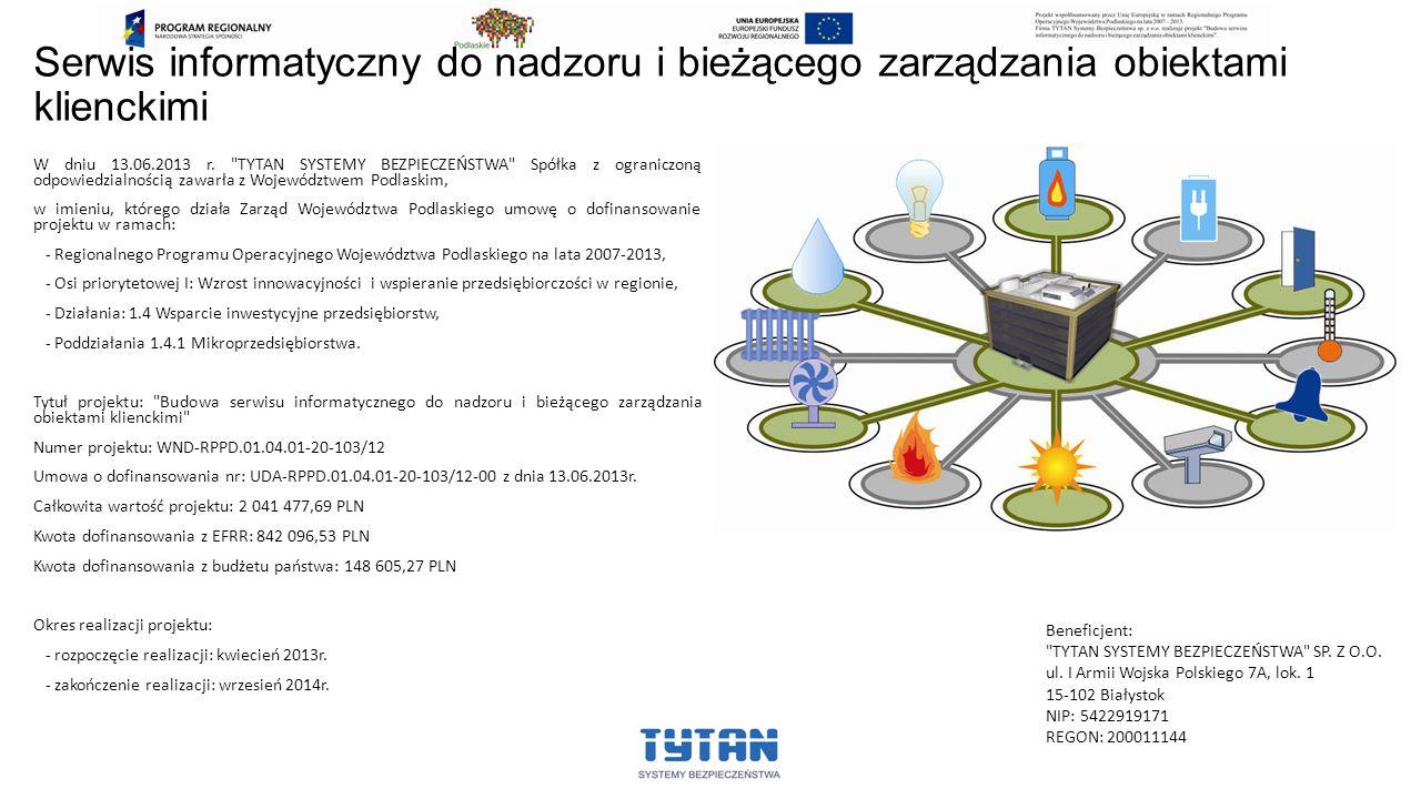 Serwis informatyczny do nadzoru i bieżącego zarządzania obiektami klienckimi W dniu 13.06.2013 r.