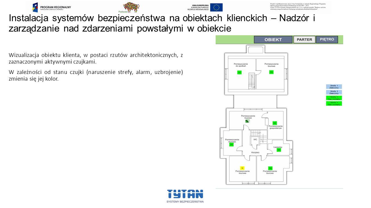 Wizualizacja obiektu klienta, w postaci rzutów architektonicznych, z zaznaczonymi aktywnymi czujkami. W zależności od stanu czujki (naruszenie strefy,