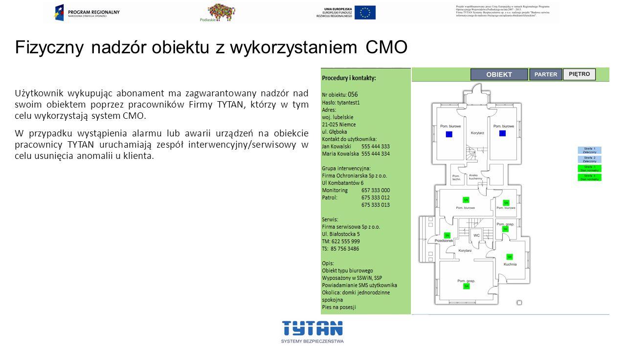 Fizyczny nadzór obiektu z wykorzystaniem CMO Użytkownik wykupując abonament ma zagwarantowany nadzór nad swoim obiektem poprzez pracowników Firmy TYTAN, którzy w tym celu wykorzystają system CMO.