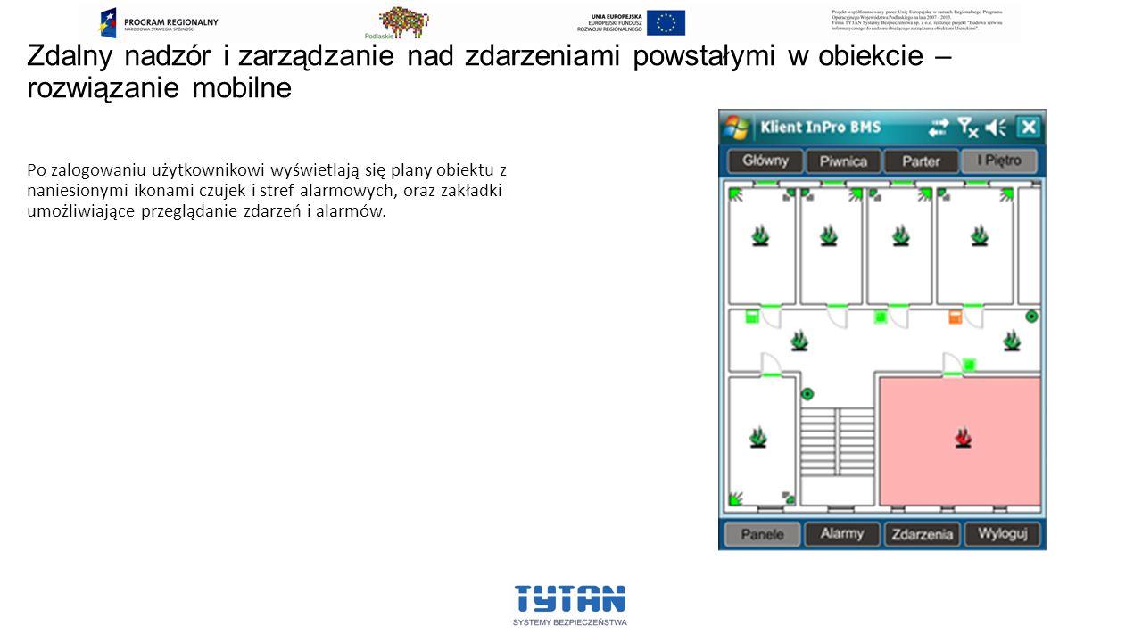 Zdalny nadzór i zarządzanie nad zdarzeniami powstałymi w obiekcie – rozwiązanie mobilne Po zalogowaniu użytkownikowi wyświetlają się plany obiektu z n