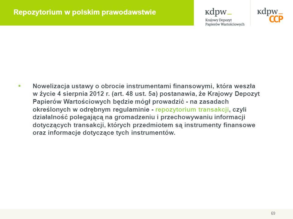 69 Repozytorium w polskim prawodawstwie  Nowelizacja ustawy o obrocie instrumentami finansowymi, która weszła w życie 4 sierpnia 2012 r. (art. 48 ust