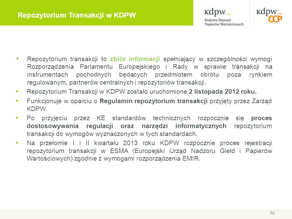 70 Repozytorium Transakcji w KDPW  Repozytorium transakcji to zbiór informacji spełniający w szczególności wymogi Rozporządzenia Parlamentu Europejsk