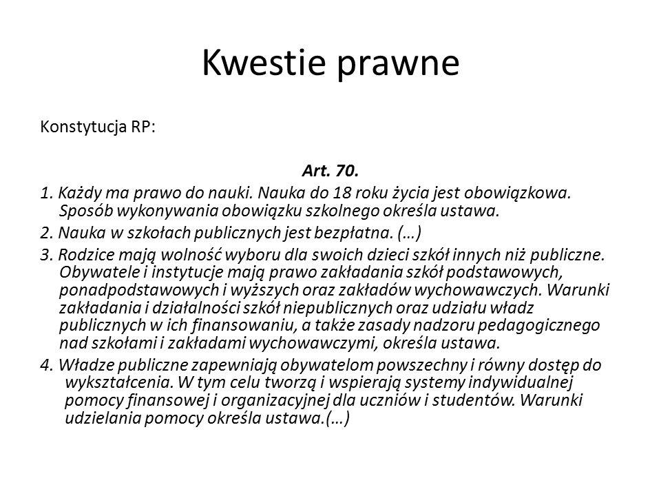 Kwestie prawne Konstytucja RP: Art. 70. 1. Każdy ma prawo do nauki.