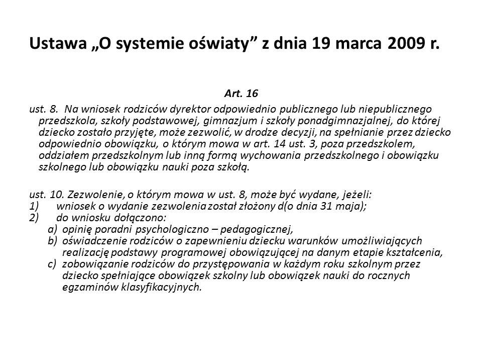 """Ustawa """"O systemie oświaty z dnia 19 marca 2009 r."""