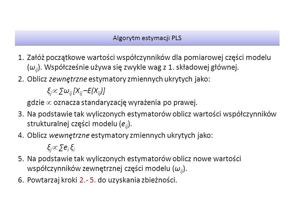 1.Załóż początkowe wartości współczynników dla pomiarowej części modelu (ω ij ).