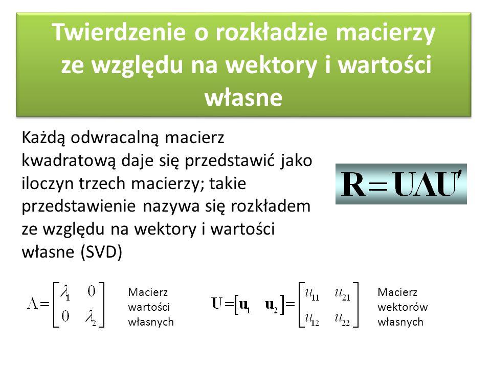Twierdzenie o rozkładzie macierzy ze względu na wektory i wartości własne Każdą odwracalną macierz kwadratową daje się przedstawić jako iloczyn trzech macierzy; takie przedstawienie nazywa się rozkładem ze względu na wektory i wartości własne (SVD) Macierz wartości własnych Macierz wektorów własnych