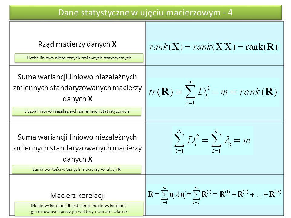 Rząd macierzy danych X Suma wariancji liniowo niezależnych zmiennych standaryzowanych macierzy danych X Macierz korelacji Dane statystyczne w ujęciu macierzowym - 4 Liczba liniowo niezależnych zmiennych statystycznych Suma wartości własnych macierzy korelacji R Macierzy korelacji R jest sumą macierzy korelacji generowanych przez jej wektory i warości własne