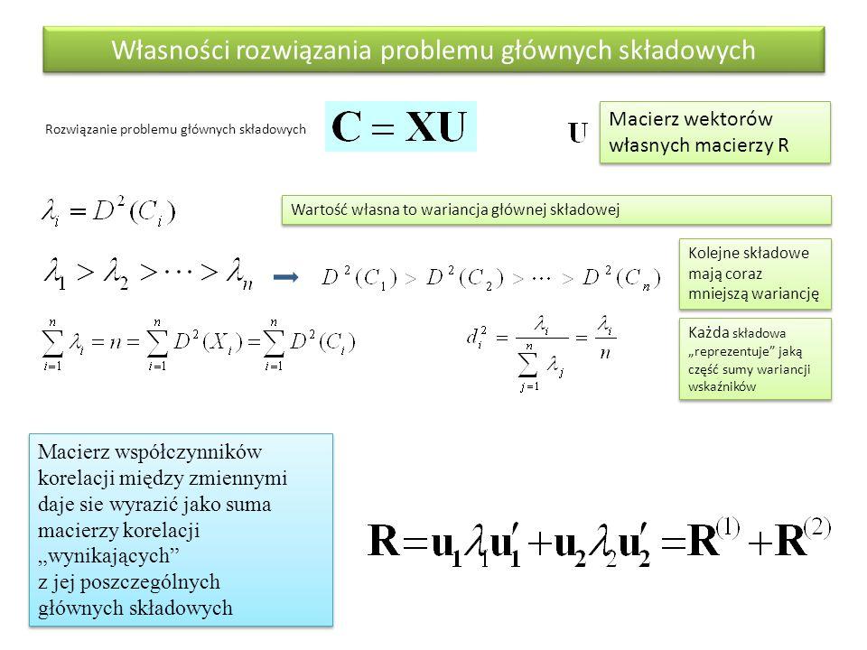 """Własności rozwiązania problemu głównych składowych Rozwiązanie problemu głównych składowych Macierz współczynników korelacji między zmiennymi daje sie wyrazić jako suma macierzy korelacji """"wynikających z jej poszczególnych głównych składowych Wartość własna to wariancja głównej składowej Kolejne składowe mają coraz mniejszą wariancję Każda składowa """"reprezentuje jaką część sumy wariancji wskaźników Macierz wektorów własnych macierzy R"""