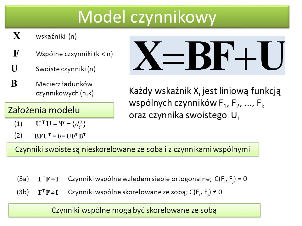 Model czynnikowy X wskaźniki (n) F Wspólne czxynniki (k < n) U Swoiste czynniki (n) B Macierz ładunków czynnikowych (n,k) Założenia modelu (1) (2) (3a)Czynniki wspólne wzlędem siebie ortogonalne; C(F i, F j ) = 0 (3b) Czynniki wspólne skorelowane ze sobą; C(F i, F j ) ≠ 0 Czynniki swoiste są nieskorelowane ze soba i z czynnikami wspólnymi Każdy wskaźnik X i jest liniową funkcją wspólnych czynników F 1, F 2,..., F k oraz czynnika swoistego U i Czynniki wspólne mogą być skorelowane ze sobą