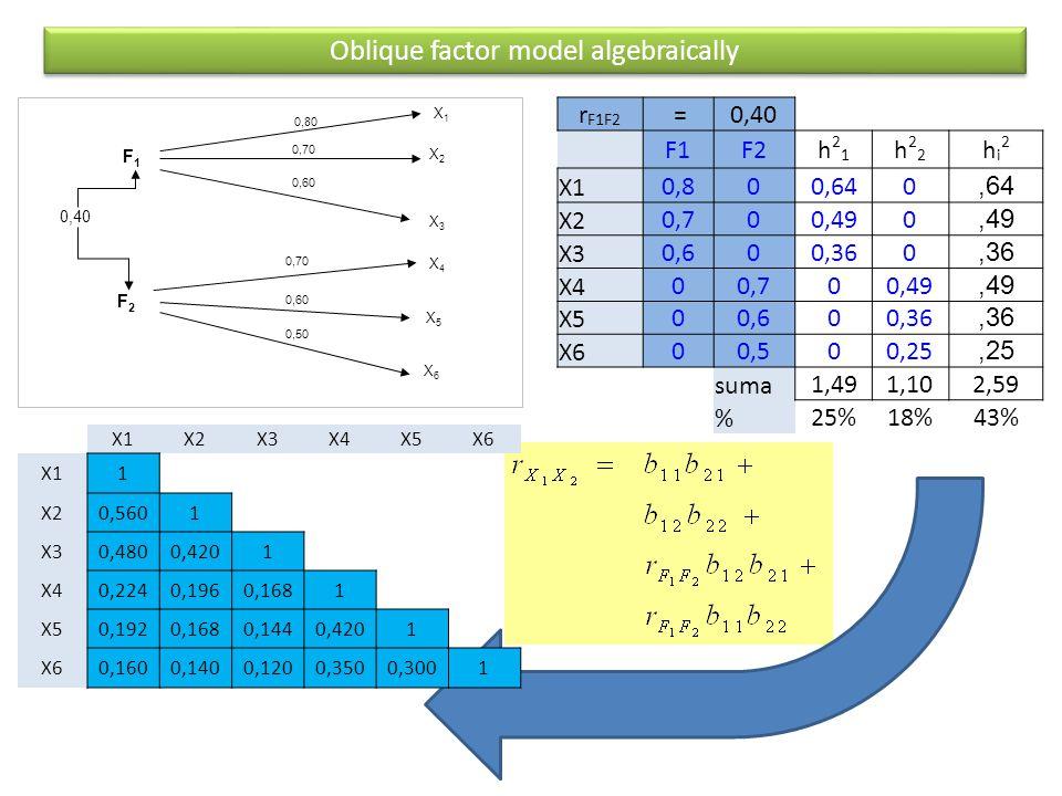 F1F1 F2F2 X1X1 X2X2 X3X3 0,40 0,80 0,70 X4X4 X6X6 0,60 X5X5 0,50 Oblique factor model algebraically r F1F2 =0,40 F1F2h21h21 h22h22 hi2hi2 X1 0,800,640,64 X20,700,490,49 X30,600,360,36 X400,700,49,49 X500,600,36,36 X600,500,25,25 suma1,491,102,59 % 25%18%43% X1X2X3X4X5X6 X11 X20,5601 X30,4800,4201 X40,2240,1960,1681 X50,1920,1680,1440,4201 X60,1600,1400,1200,3500,3001