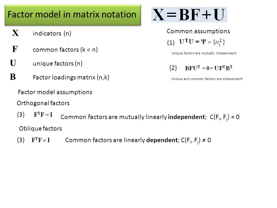 Factor model in matrix notation X indicators (n) F common factors (k < n) U unique factors (n) B Factor loadings matrix (n,k) Common assumptions (1) (