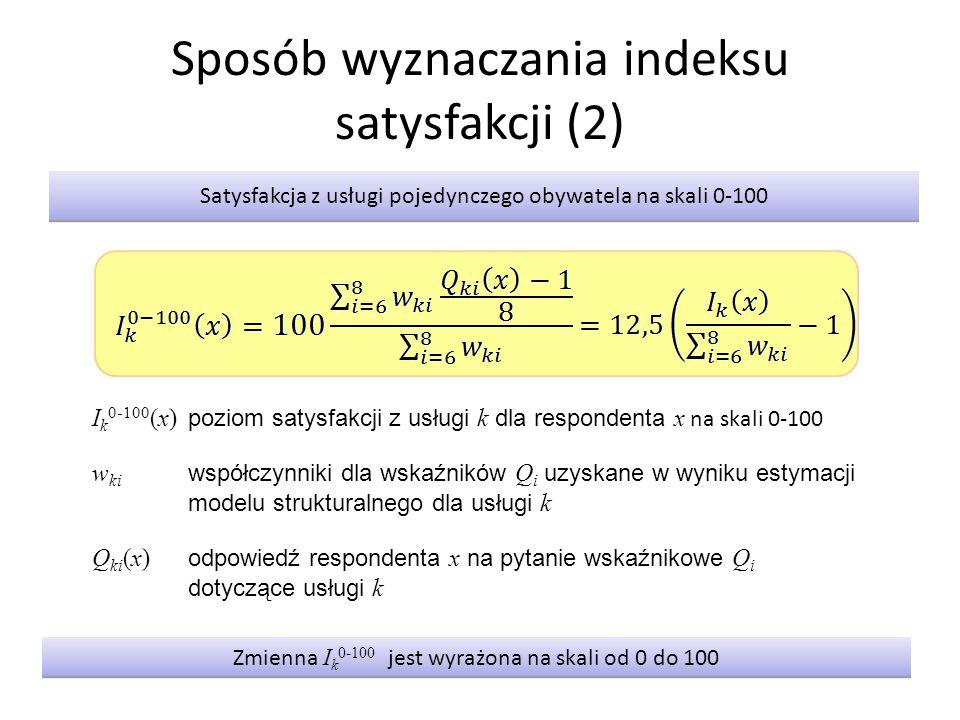 Sposób wyznaczania indeksu satysfakcji (2) Satysfakcja z usługi pojedynczego obywatela na skali 0-100 I k 0-100 (x) poziom satysfakcji z usługi k dla respondenta x na skali 0-100 w ki współczynniki dla wskaźników Q i uzyskane w wyniku estymacji modelu strukturalnego dla usługi k Q ki (x) odpowiedź respondenta x na pytanie wskaźnikowe Q i dotyczące usługi k Zmienna I k 0-100 jest wyrażona na skali od 0 do 100