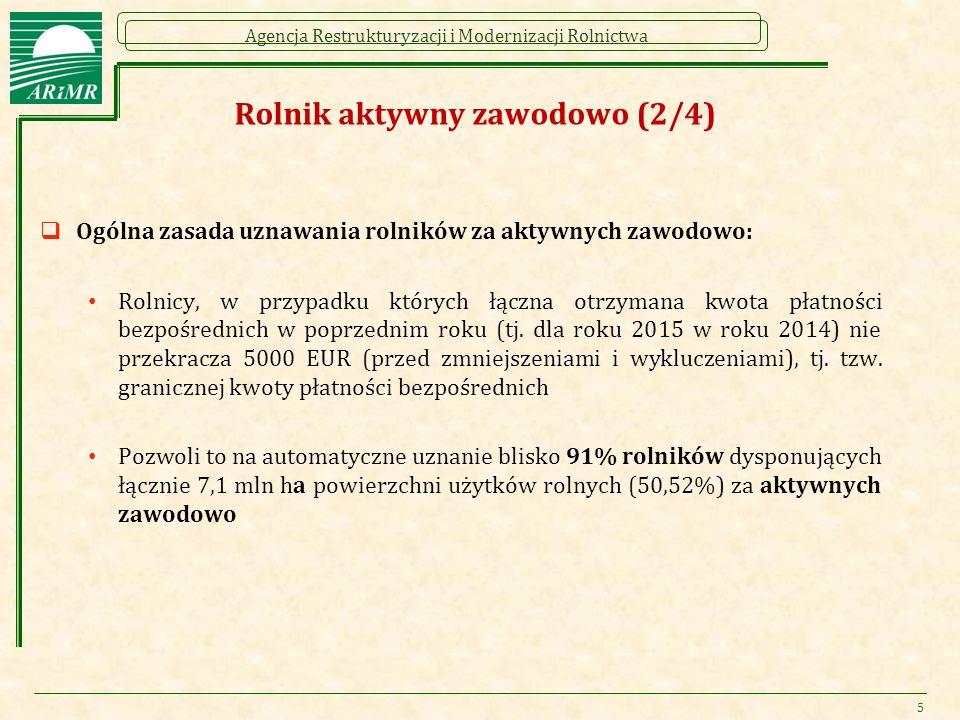 Agencja Restrukturyzacji i Modernizacji Rolnictwa Rolnik aktywny zawodowo (2/4)  Ogólna zasada uznawania rolników za aktywnych zawodowo: Rolnicy, w przypadku których łączna otrzymana kwota płatności bezpośrednich w poprzednim roku (tj.