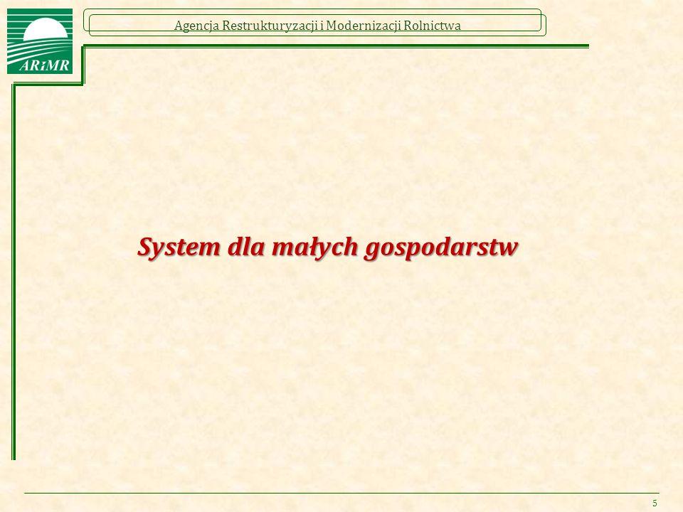 Agencja Restrukturyzacji i Modernizacji Rolnictwa System dla małych gospodarstw 5