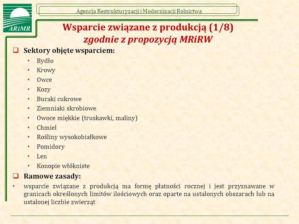 Agencja Restrukturyzacji i Modernizacji Rolnictwa Wsparcie związane z produkcją (1/8) zgodnie z propozycją MRiRW  Sektory objęte wsparciem: Bydło Krowy Owce Kozy Buraki cukrowe Ziemniaki skrobiowe Owoce miękkie (truskawki, maliny) Chmiel Rośliny wysokobiałkowe Pomidory Len Konopie włókniste  Ramowe zasady: wsparcie związane z produkcją ma formę płatności rocznej i jest przyznawane w granicach określonych limitów ilościowych oraz oparte na ustalonych obszarach lub na ustalonej liczbie zwierząt