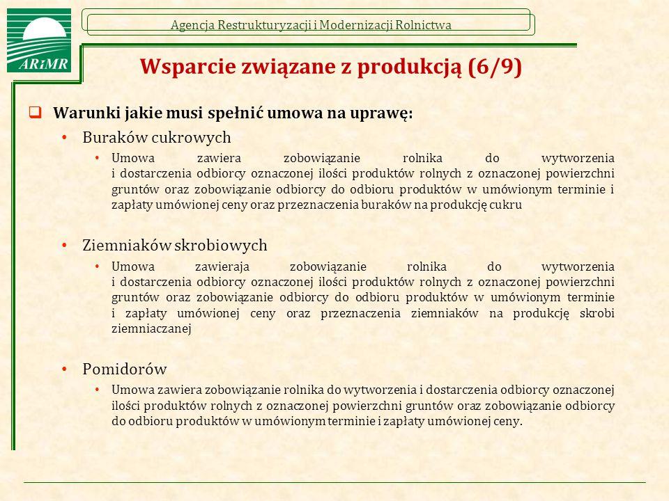 Agencja Restrukturyzacji i Modernizacji Rolnictwa Wsparcie związane z produkcją (6/9)  Warunki jakie musi spełnić umowa na uprawę: Buraków cukrowych Umowa zawiera zobowiązanie rolnika do wytworzenia i dostarczenia odbiorcy oznaczonej ilości produktów rolnych z oznaczonej powierzchni gruntów oraz zobowiązanie odbiorcy do odbioru produktów w umówionym terminie i zapłaty umówionej ceny oraz przeznaczenia buraków na produkcję cukru Ziemniaków skrobiowych Umowa zawieraja zobowiązanie rolnika do wytworzenia i dostarczenia odbiorcy oznaczonej ilości produktów rolnych z oznaczonej powierzchni gruntów oraz zobowiązanie odbiorcy do odbioru produktów w umówionym terminie i zapłaty umówionej ceny oraz przeznaczenia ziemniaków na produkcję skrobi ziemniaczanej Pomidorów Umowa zawiera zobowiązanie rolnika do wytworzenia i dostarczenia odbiorcy oznaczonej ilości produktów rolnych z oznaczonej powierzchni gruntów oraz zobowiązanie odbiorcy do odbioru produktów w umówionym terminie i zapłaty umówionej ceny.