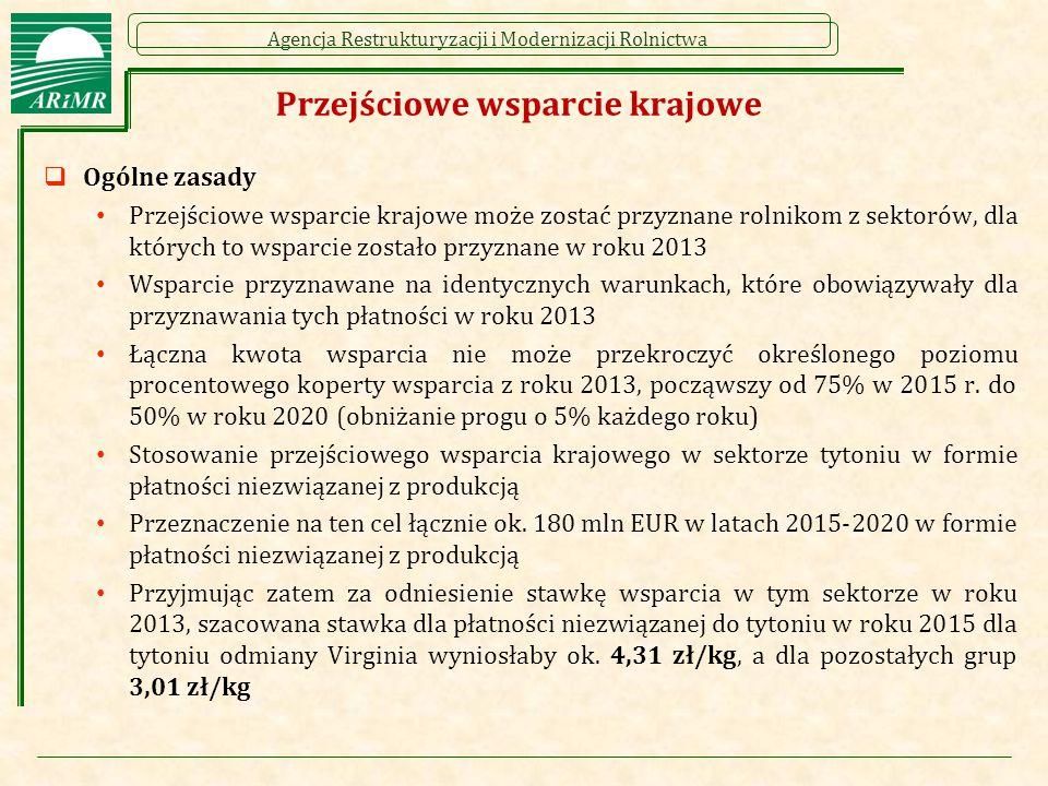 Agencja Restrukturyzacji i Modernizacji Rolnictwa Przejściowe wsparcie krajowe  Ogólne zasady Przejściowe wsparcie krajowe może zostać przyznane rolnikom z sektorów, dla których to wsparcie zostało przyznane w roku 2013 Wsparcie przyznawane na identycznych warunkach, które obowiązywały dla przyznawania tych płatności w roku 2013 Łączna kwota wsparcia nie może przekroczyć określonego poziomu procentowego koperty wsparcia z roku 2013, począwszy od 75% w 2015 r.