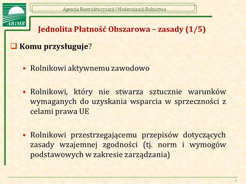Agencja Restrukturyzacji i Modernizacji Rolnictwa Jednolita Płatność Obszarowa – zasady (1/5)  Komu przysługuje.