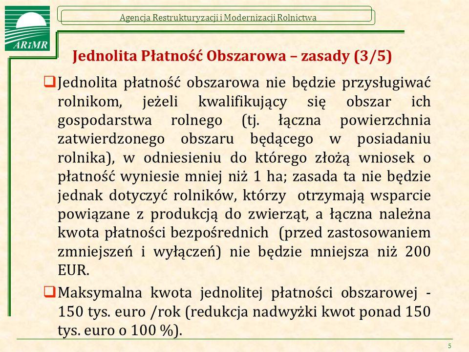 Agencja Restrukturyzacji i Modernizacji Rolnictwa Płatność dodatkowa (1/2)  Płatność przysługuje rolnikom: Spełniającym kryteria rolnika aktywnego zawodowo Uprawnionym do otrzymania jednolitej płatności obszarowej (JPO) do zadeklarowanych hektarów kwalifikowanych Którzy nie podzielili gospodarstwa po 18.10.2011 r.