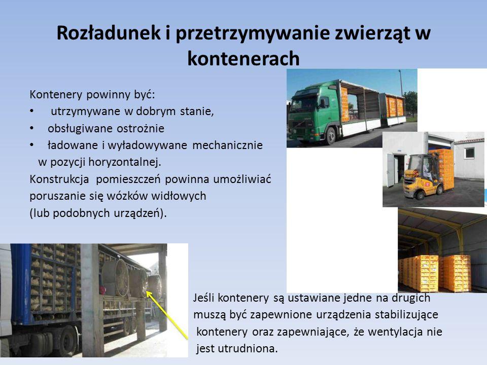Rozładunek i przetrzymywanie zwierząt w kontenerach Kontenery powinny być: utrzymywane w dobrym stanie, obsługiwane ostrożnie ładowane i wyładowywane