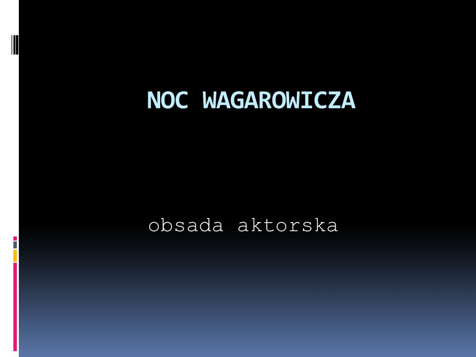 NOC WAGAROWICZA obsada aktorska