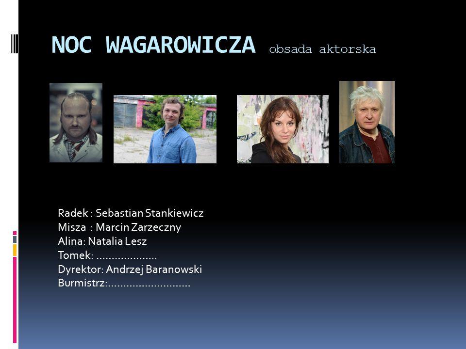 NOC WAGAROWICZA obsada aktorska Radek : Sebastian Stankiewicz Misza : Marcin Zarzeczny Alina: Natalia Lesz Tomek: ………………..