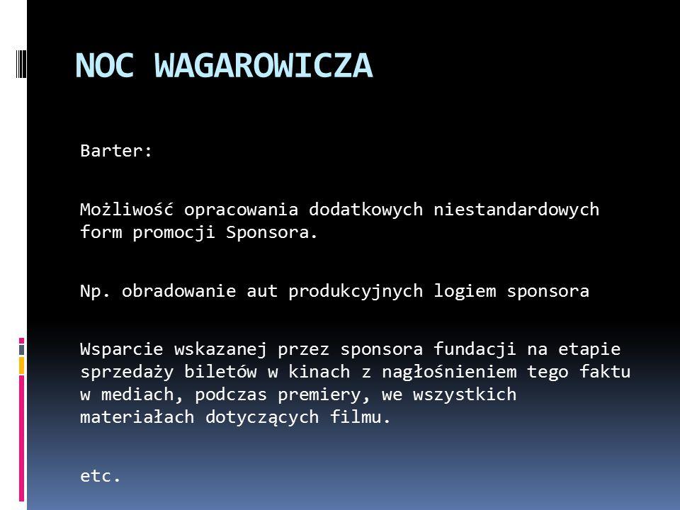 NOC WAGAROWICZA Barter: Możliwość opracowania dodatkowych niestandardowych form promocji Sponsora.